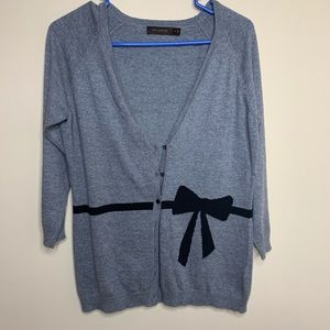 The Limited Grey Cardigan Cute Bow Design Size M